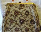 Vintage 40s Brocade Tapestry Handbag Purse / Bakelite Handle / Beaded Purse