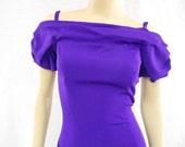 Vintage 80s Purple Dress / S.G. Gilbert Curvy Dress / 1980s Cocktail Dress / Size 6