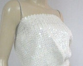 Vintage 70s Disco White Sequin Strapless Blouson Tube Top S M