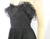 80s Party Dress/ Black Lace Dress/ Vintage Dancing Dress/ Size Small
