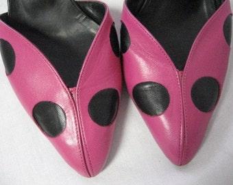 Polka Dot Shoes / Pink and Black Heels / Vintage Hot Pink and Black Polka Dot Leather Slingback Heels 5 1/2