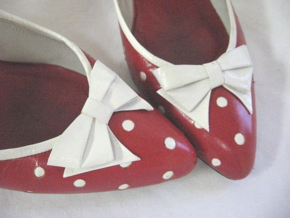 Vintage All Leather Red and White Polka Dot Bow Shoes 8 N
