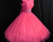 Vintage 1950's 50s Fuschia Hot Pink Beaded Ruched CHIFFON Organza Party Prom Wedding DRESS