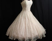 Vintage 1950's 50s Ivory Pink Lace Satin Ribbon Circle Skirt Party Prom Wedding Dress
