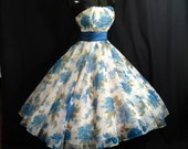 Reserved Vintage 1950's 50s Strapless Blue Watercolor Floral Print Chiffon Organza Taffeta Circle Skirt Prom Party Wedding Dress
