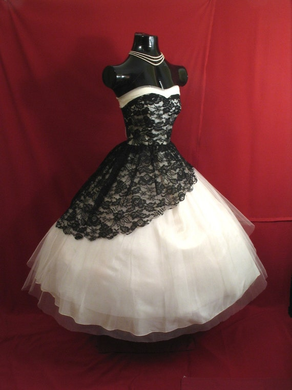 Vintage 1950's 50s STRAPLESS Black White Lace Tulle Party