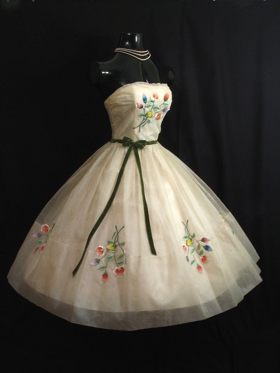 Vintage 1950 S 50s Strapless Ivory Silk Embroidered Floral