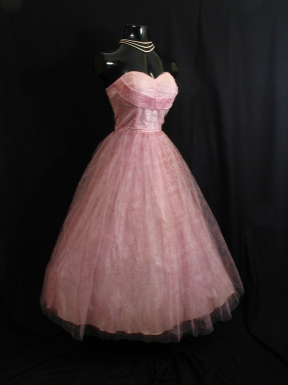 Reserved Vintage 1950's 50s Strapless PINK Shelf Bust Taffeta Flocked Tulle Party Prom Wedding Dress