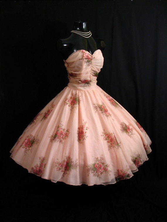 Vintage 1950's 50s STRAPLESS Bombshell Pink Floral Roses Chiffon Organza Party Prom WEDDING Dress Gown