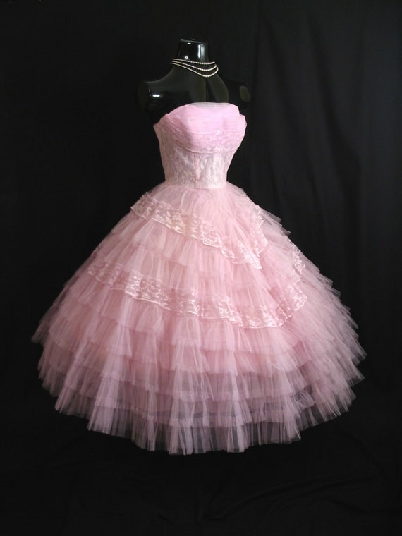 Vintage 50's 50s STRAPLESS Orchid PINK Layered Tulle Lace Party Prom Wedding DRESS Gown