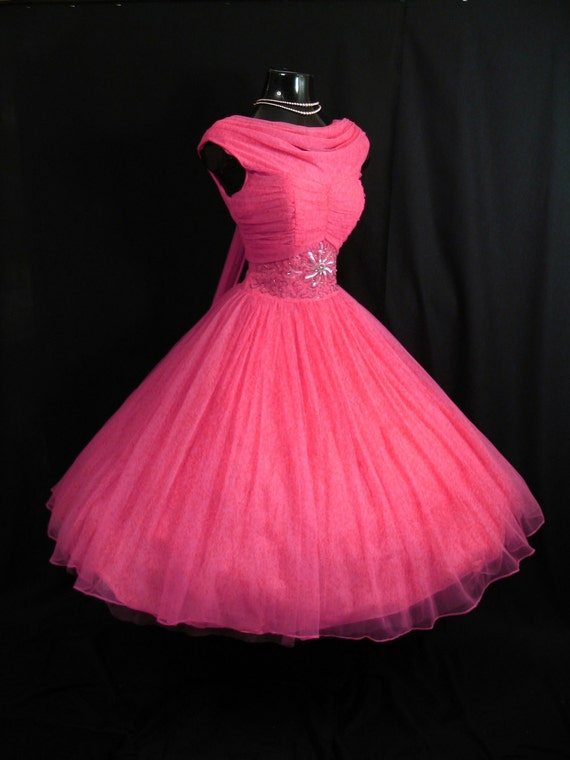 Vintage 1950 39 s 50s fuschia hot pink beaded ruched by for Fuschia pink dress for wedding