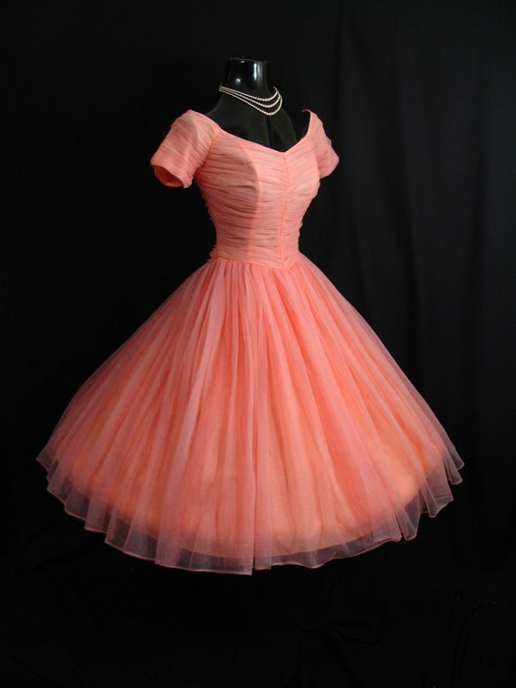 Vintage 1950's 50s Bombshell Coral PINK Salmon Ruched Chiffon Circle Skirt Party Prom Wedding Dress