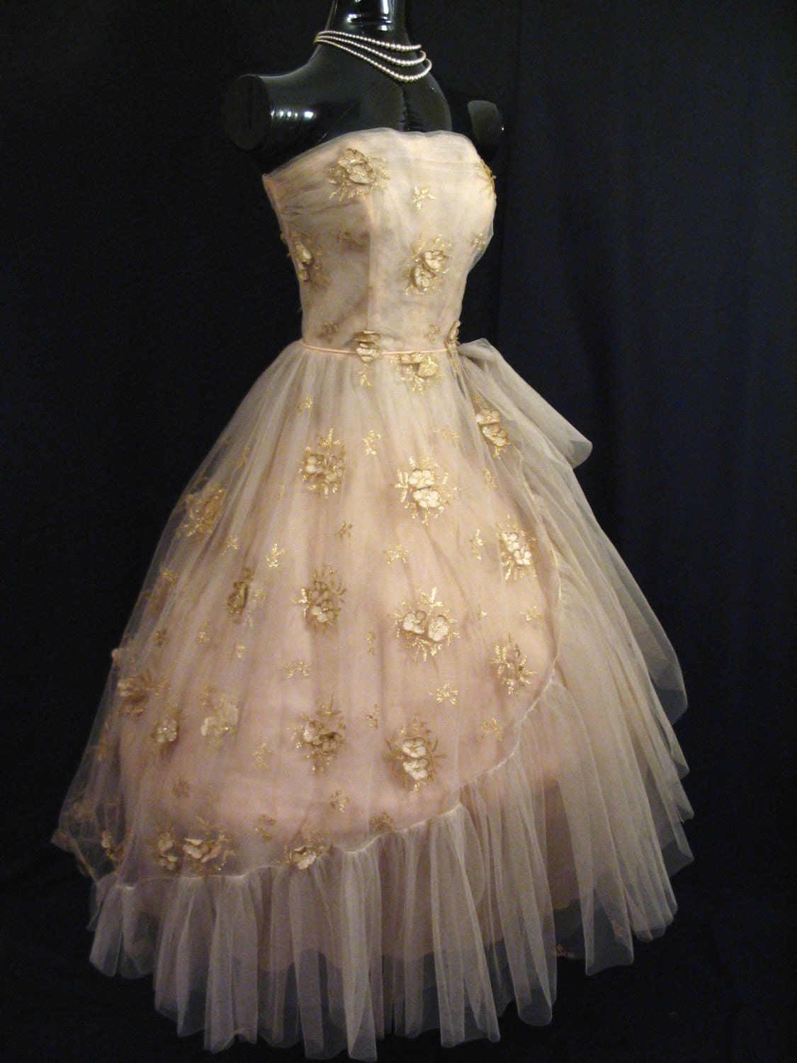 vintage 1950s 50s 50s strapless gold champagne tulle