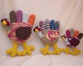 Hand Turkey Trio Crochet Amigurumi Pattern