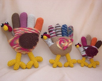 Hand Turkey Trio Crochet Amigurumi Pattern