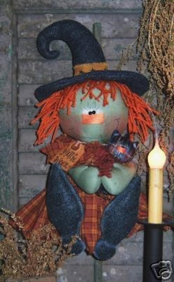 Patti's Ratties Primitive Hallie Ween Witch Door Doll / Cat Pattern 134