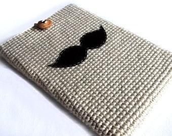 Crochet Laptop Sleeve 13 Inch, Mac Air Case, Mac Pro Case, Mac Book Case, Mac Book Sleeve - Mustache