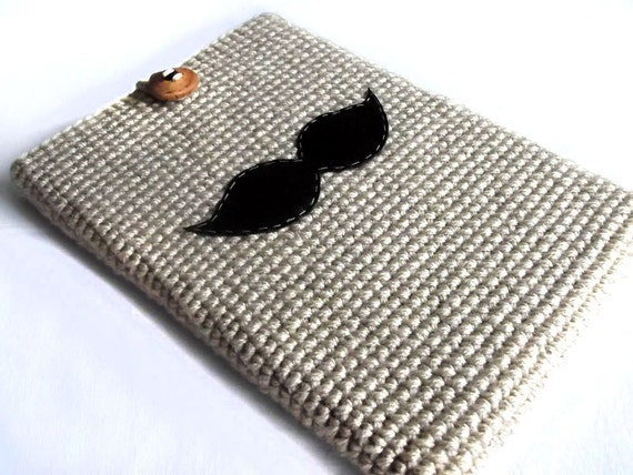 Crochet Laptop Sleeve 13 Inch, Mac Air Case, Mac Pro Case, Mac Book Case, Mac Book Sleeve - Mustache