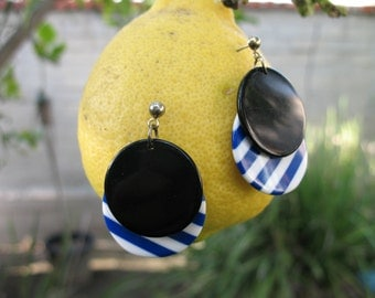 1980s Black with Blue and White Stripe Earrings