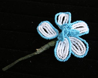 1960s Flower Power Beaded Daisy Brooch