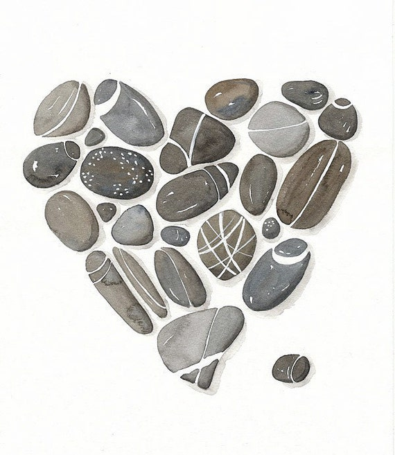 Pebbles No.22 - Watercolor Art Print, Limited Edition - Painting by Lorisworld