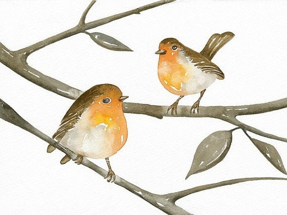ROBINS - Original Watercolor Painting - Art Bird - by Lorisworld (8 x 6 inches)
