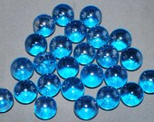 Glass Marbles - 15 Modern Craft Marbles - Blue - Silver in Color