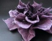 Lavender Aubergine Felt Flower Brooch Handmade To Order