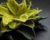 Apple and Dark Green Felt Flower Brooch Handmade to Order
