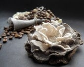 Felt Flower, White Coffee Beige and Brown flower, Handcrafted flower brooch, Brown Felt Flower, Felt Blossom