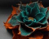 Felted Flower Brooch, Copper Brown Turquoise Felt Flower Brooch
