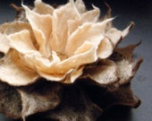 Felt Brooch / Felted Pin / Felted Flower / Caramel Chocolate Brown Felt Flower Brooch