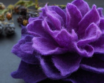 Deep Purple Blackberry Felt Flower Brooch Handmade to Order
