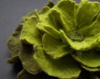 Apple Olive Green Felt Flower Brooch, Felted Pin / Made To Order