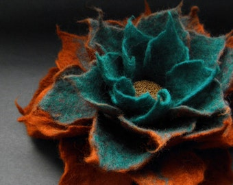 Felted Flower Brooch, Copper Brown Turquoise Felt Flower Brooch / Made to Order