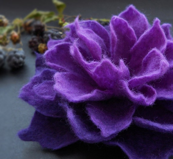 Deep Purple Blackberry Felt Flower Brooch, Violet Flower Brooch, Felt Flower Brooch, Felt Pin