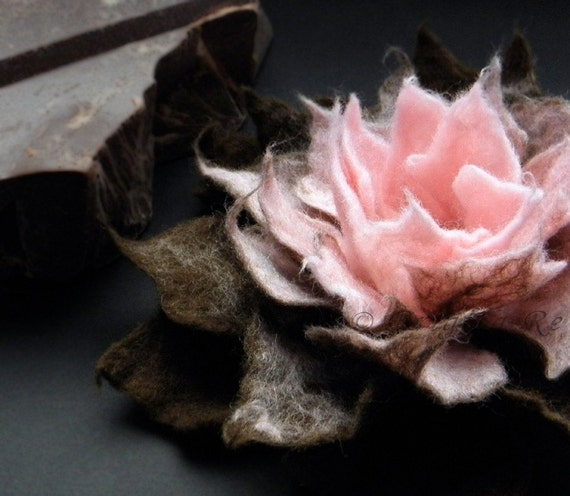 Sweet Cherry Cream and Chocolate Felt Flower Brooch