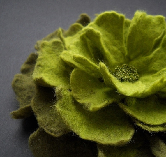 Apple Olive Green Felt Flower Brooch Handmade To Order