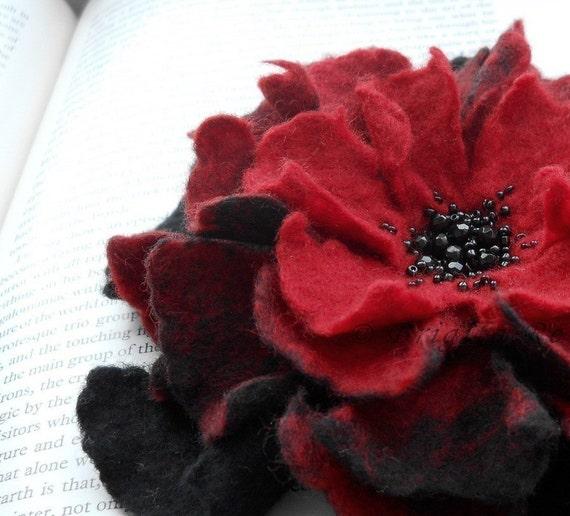 Red and Black Felt Flower Brooch Handmade to Order