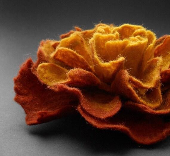 Copper Brown and Honey Felt Flower Brooch Handmade to Order