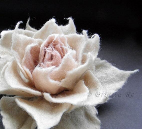 Felted Flower Brooch, Felt Flower Brooch, Cream Antiqued Blush Pink Felt Flower Brooch