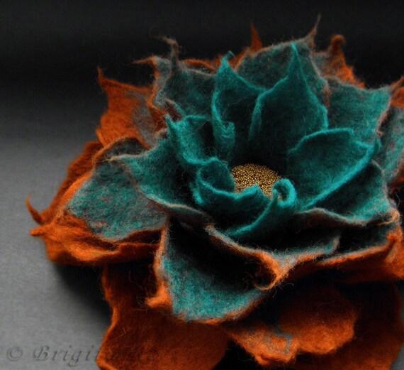 Copper Turquoise Felt Flower Pin Brooch