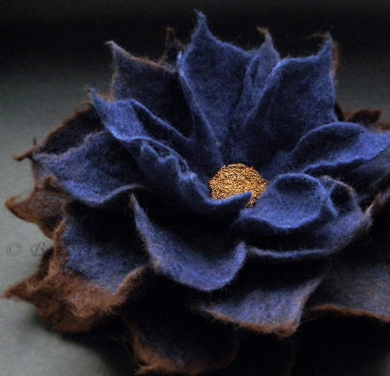 Deep Blue Ink Coffee Chocolate Felt Flower Brooch Handmade to Order 4.5 Inch