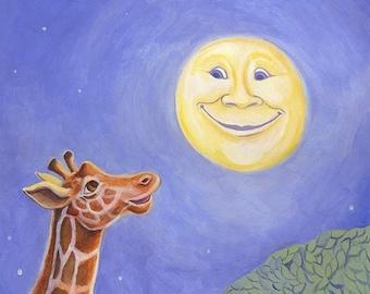 Girraffe and Moon original illustration