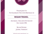 BIRTHDAY STRIPES - This invite works well for any age - 21, 30, 40, 50