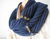 Wool cowl denim blue fashion knitted cowl - made to order
