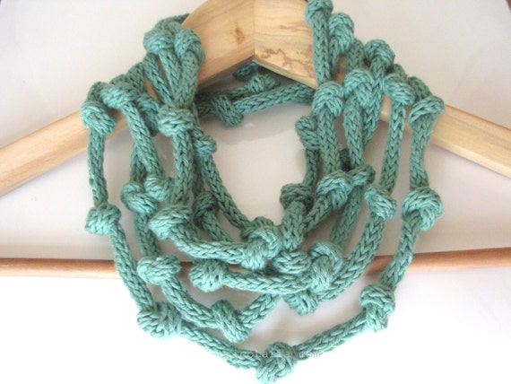 Mint green necklace - knitted jewelry - eco cotton Infinity necklace - Europeanstreetteam