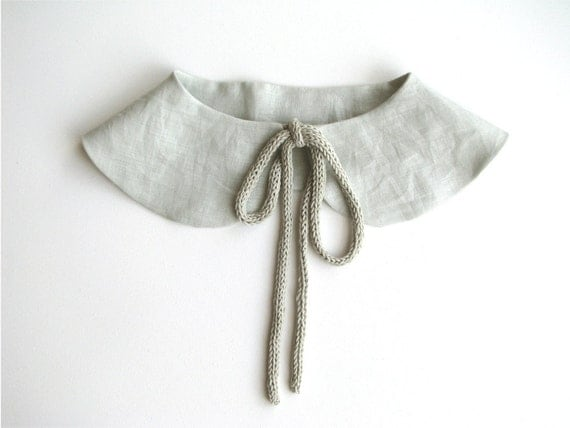 Butterfly detachable collar - Peter Pan collar - soft grey linen - Europeanstreetteam - Wedding Accessory