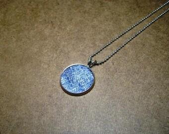 Denim Necklace- Round Denim Pendant with steel chain