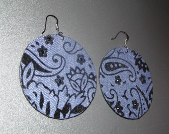 Denim Earrings-  Round Brocade